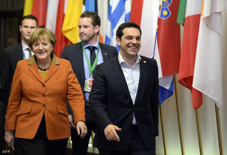 Angela Merkel német kancellár és Alekszisz Ciprasz görög miniszterelnök az EU-csúcson Brüsszelben, 2016. március 6-án.