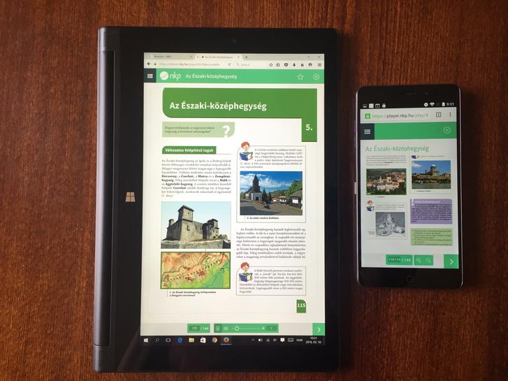 Windowsos tableten tökéletesen látható a tankönyv oldala, mobilon tökéletesen látható minden más, csak a tankönyv jelenik meg bénán