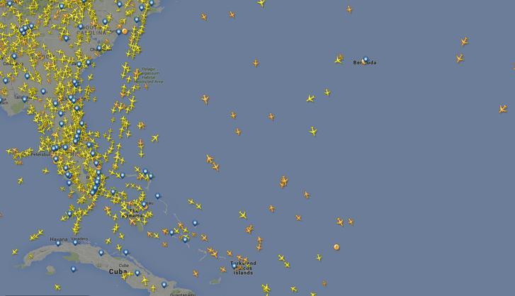 A Bermuda-háromszög légiforgalma, 2016. március 17-én.