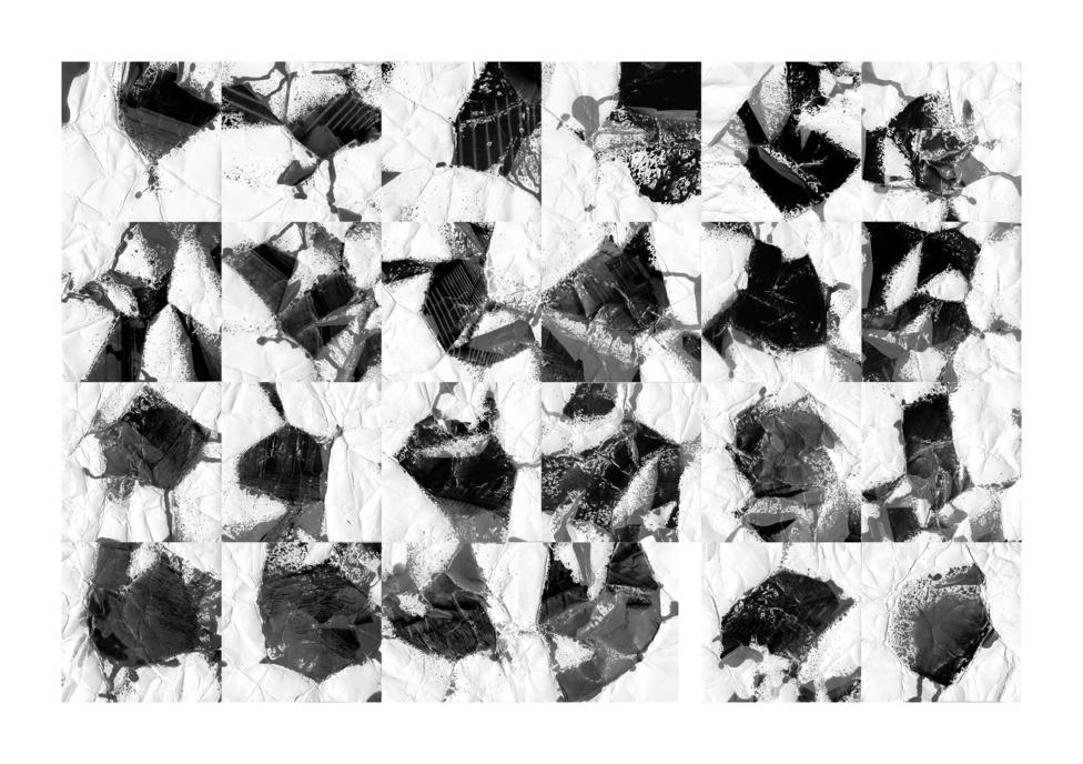 """ACSAI MIKLÓS: Szelekció (1-24)                         2016                          88x62 cm; c-print                         gyűrött fotópapír, spriccelt hívó, préselés""""Az Uvaterv archívumába eleve valamilyen szelekció által kerülhettek be a képek.                          Ebben a szelekcióban károsodás - újabb szelekció történt. A fennmaradó                          archívumból megint egy újabb válogatás során kerültek hozzánk a feldolgozható                          képek. Ezek közül személyes szelekcióval választottam ki egyet, melynek                          feldolgozásával 24 absztrakt kép született, s az ezekből létrejövő utolsó szelekció a                          személyes esztétikai megítélésem alapján történt.                          A képek utóélete tehát épp olyan sorsszerű és könnyen transzformálódó, mint az                          előéletük: azaz a valóság szelektálása során megfigyelhető érzékeny instabilitásuk."""""""