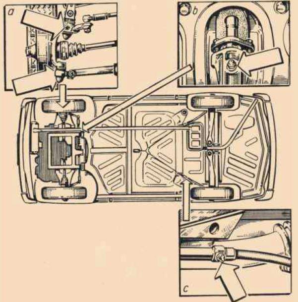 Egy utolsó évjáratos Trabant 601 kenési terve. Félévente vagy tízezer kilométerenként hét ponton kellett újrakenni