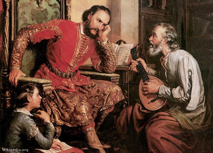 Nádasdy és Tinódi Orlay Petrich Soma festményén. Érdekes, hogy a negyvenes éveiben meghalt költőt mindig aggastyánnak ábrázolják, mert egy lantos már csak legyen vén (Teljes méretű festményért katt a képre!)