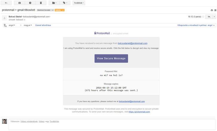 Ilyet kap a Gmail-felhasználó, ha titkosított levelet küldünk neki.