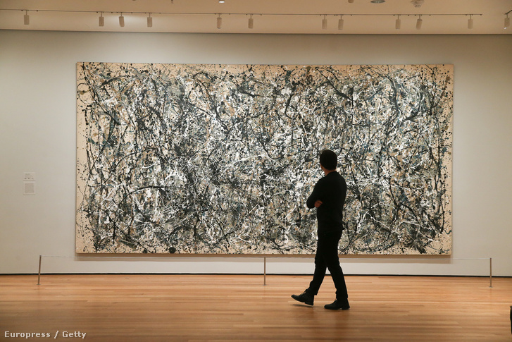 Jackson Pollock kiállítása a New York-i MOMA-ban, 2016. március 2-án.
