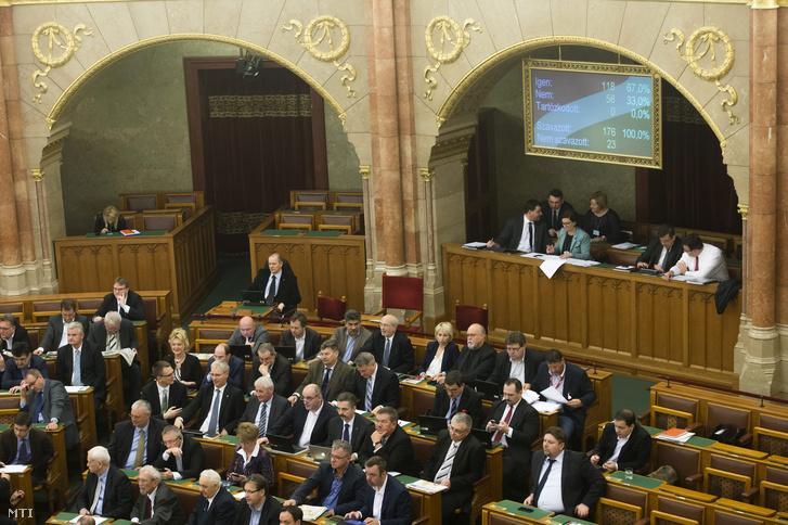 A Magyar Nemzeti Bankról (MNB) szóló törvény módosítását célzó javaslat szavazásának eredménye a kijelzőn az Országgyűlés plenáris ülésén 2016. március 1-jén.