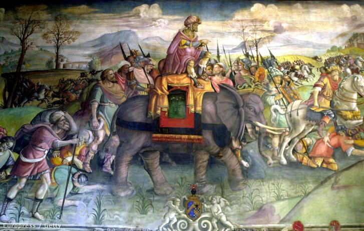 A Hannibál vonulása c. freskó a római kapitóliumban