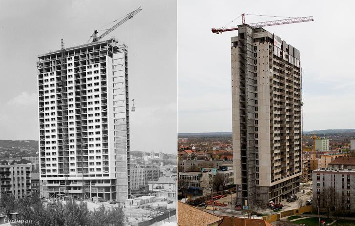 A pécsi magasház építése (1975) és bontása (2016).