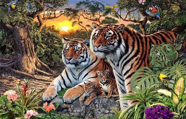 Most pedig számolja meg, hány tigrist rejtettek el ezen a képen!