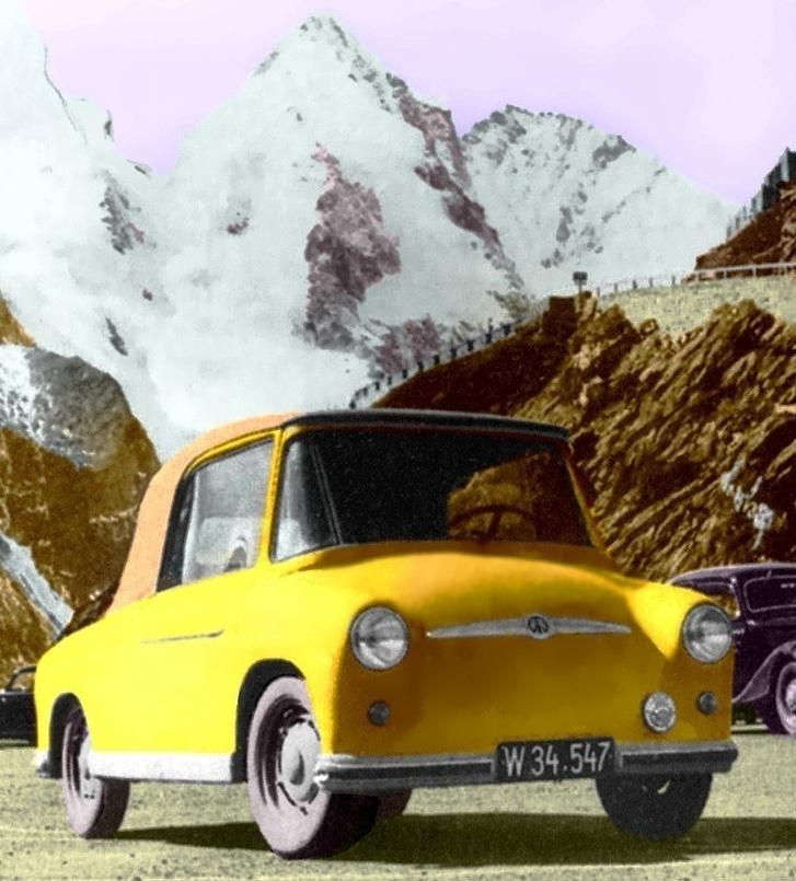 Színesben is lefotózták. A háttérben álló autó sokat elmond arról, milyen rég készült a kép