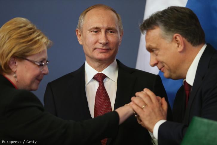 Vlagyimir Putyin Budapesten, Orbán Viktor miniszterelnök társaságában, 2015. februárában.