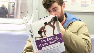 Kamu könyvborítókkal sokkolta az embereket a metrón