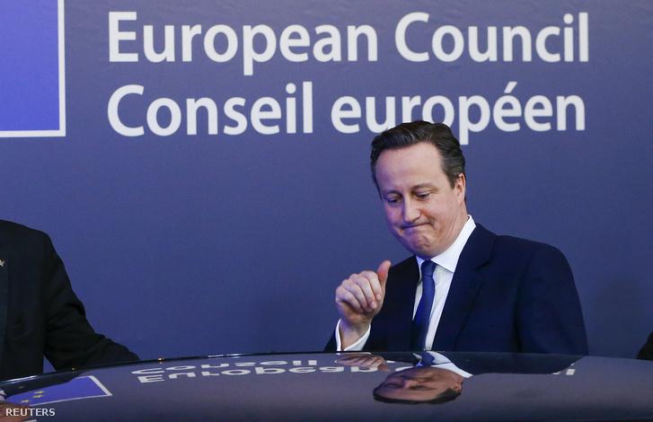 David Cameron brit miniszterelnök Brüsszelben, 2016. február 20-án.