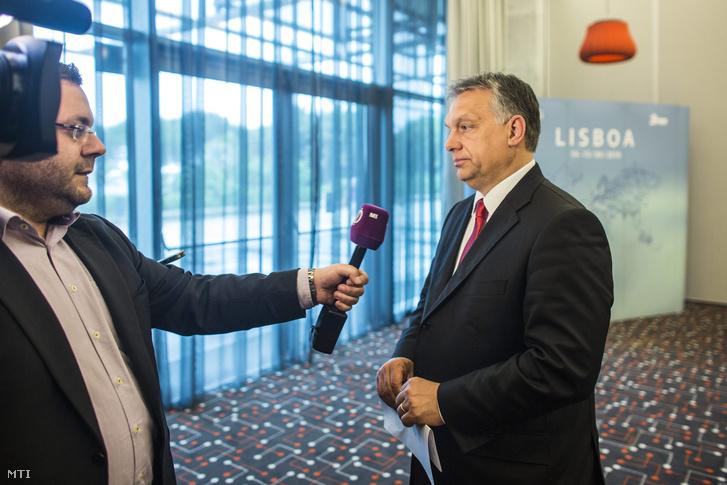 Orbán Viktor Lisszabonban, a Demokrata Centrumpártok Internacionáléja (CDI) végrehajtó bizottságának ülése helyszínén 2016. április 15-én.