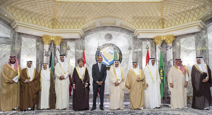 Obama Közel-keleti vezetőkkel találkozott április 21-én. Balra a kép szélén Mohamed herceg.