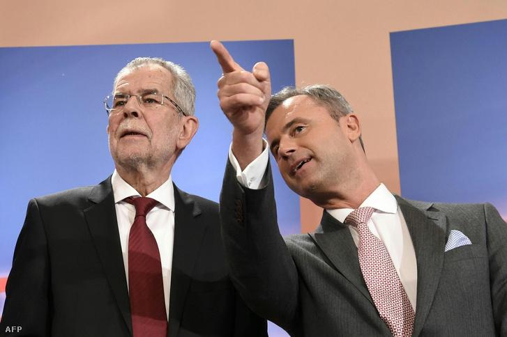 Alexander Van der Bellen (J) és Norbert Hofer egy osztrák tv-s studióban a választások napján