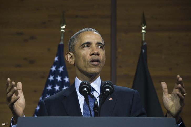 Barack Obama amerikai elnök beszél a Hannoveri Vásáron 2016. április 25-én.