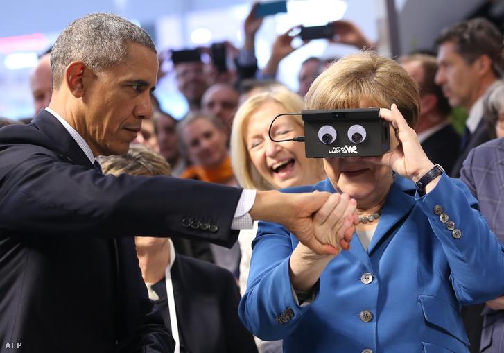Obama és Angela Merkel a Hannoveri Vásáron, 2016. április 25-én.