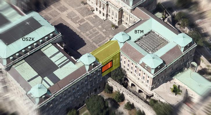 Az egykori Szent István-terem elhelyezkedése a Palota két tömbje (a mai BTM és az OSZK) közti nyaktagban