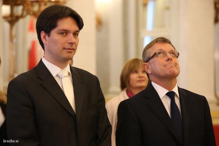 Balog Ádám és Matolcsy György a Magyar Nemzeti Bank élére való hivatalos kinevezéskor, 2013. március 3-án.