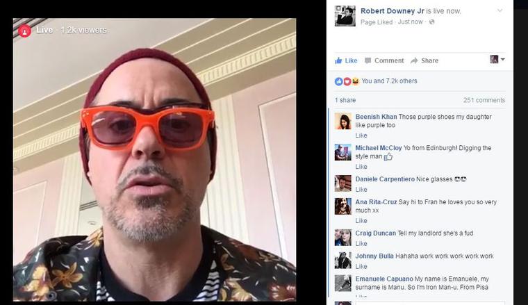Robert Downey Jr. tehát a Facebookon, élőben reagált a rajongók kommentjeire.