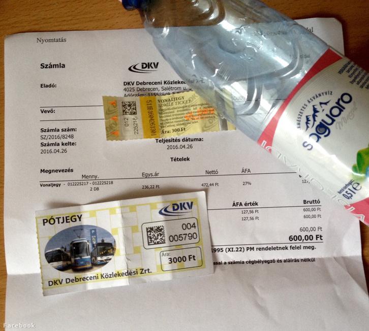 A 3000 forintos pótdíj a DKV járatán az ásványvíz fogyasztás miatt.