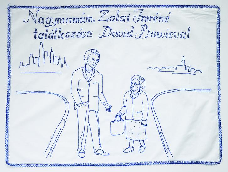 Szabó Eszter Ágnes: Nagymamám, Zalai Imréné találkozása David Bowie-val, falvédő, 1998