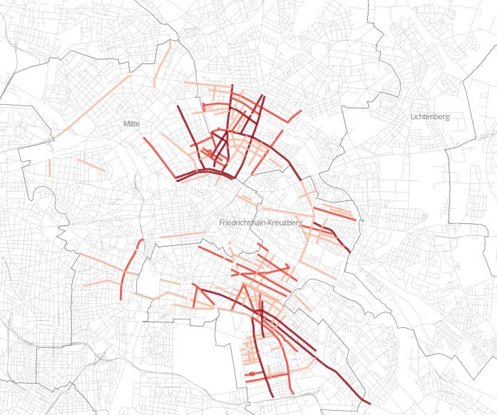 Berlin legkedveltebb utcáiban virágzik az Airbnb. A színekkel jelzett utcákban több mint 20 apartman található, minél sötétebb a szín, annál több. Forrás: Airbnb vs. Berlin