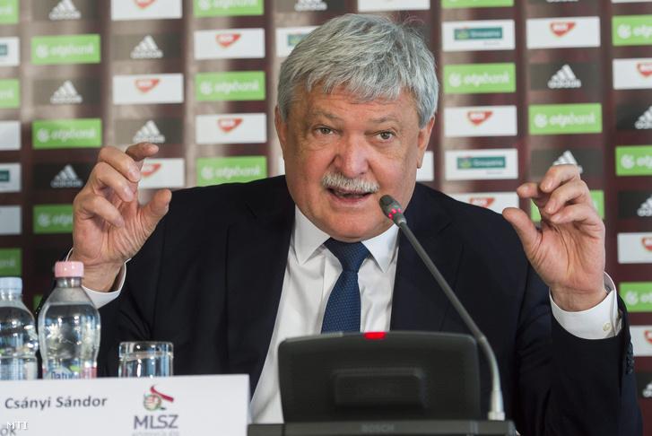 Csányi Sándor a Magyar Labdarúgó Szövetség (MLSZ) elnöke beszél a szövetség közgyűlése utáni sajtótájékoztatón Telkiben.