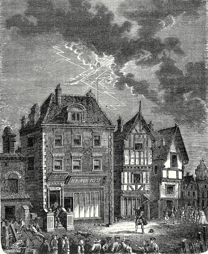 Korabeli illusztráció az első olyan épületről Philadelphiában, amire felkerült a Franklin-féle villámhárító
