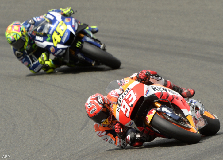 Marc Marquez és Valentino Rossi a Francia Nagydíjon.