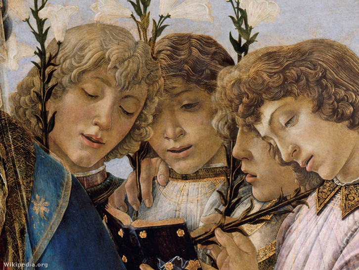 Sandro Botticelli: Madonna és a gyermek éneklő angyalokkal(teljes képért kattintsatok)