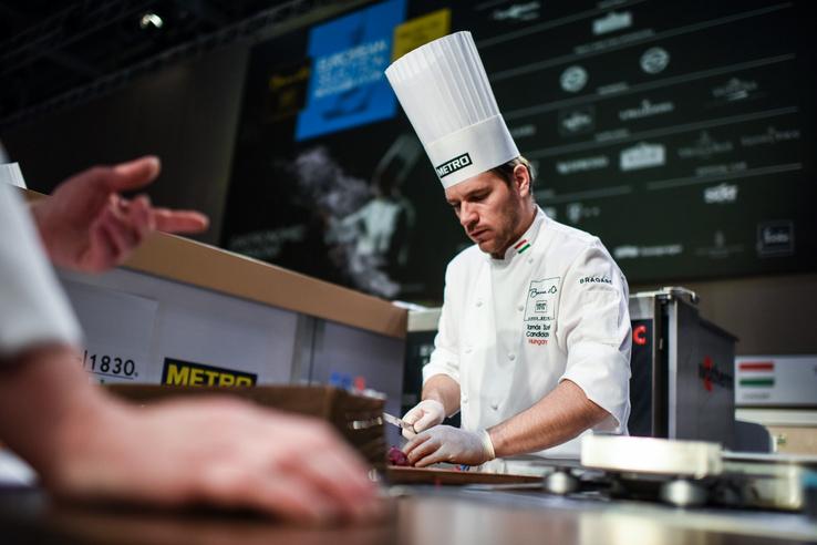 Nyolcadikként kezdett ma főzni a magyar csapat, élén Széll Tamással, a világ legnagyobb szakácsversenyének, a Bocuse d'Or-nak európai döntőjén, Budapesten.
