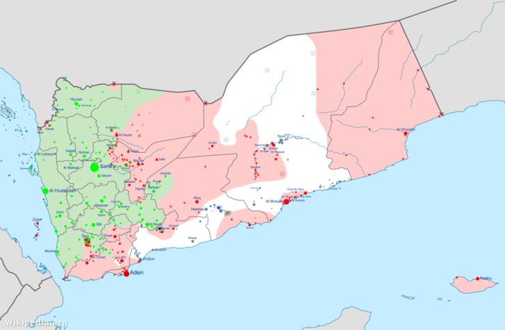 Zöld: húszi felekelők által ellenőrzött területek Piros: a kormánycsapatok és az Öböl Menti Országok Tanácsa által ellenőrzött területek Világosszürke: az al-Kaida és szövetségesei által ellenőrzött területek Sötétszürke: az Iszlám Állam sejtjei Kék: Független milíciák