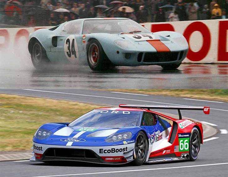 Egy név, két autó. Fent egy GT 40 a hatvanas évekből, lent az új Ford GT, amivel idén odaállnak a Le Mans-i rajthoz