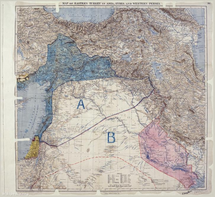 A Sykes–Picot-megállapodást követően készült térkép az angol és francia irányítás alá került területeket mutatja Ázsia kelet-törökországi részén, Szíriában és Nyugat-Perzsiában. A térképet Mark Sykes és Francois georges-Picot 1916. május 8-án szignálta.
