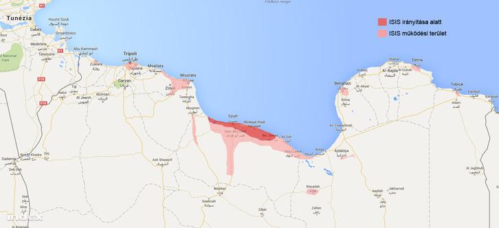 Az Iszlám Állam terjeszkedése Líbiában.