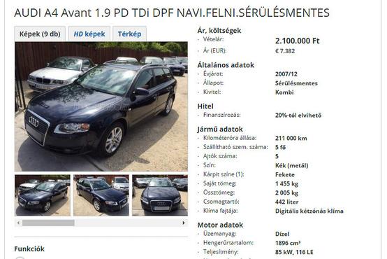 316 ezerről 210-re tekerték vissza ennek az Audinak a kilométer-számlálóját. Ez nem elírás a hirdetésben, hiszen a központi nyilvántartásba is az alacsonyabb adat került