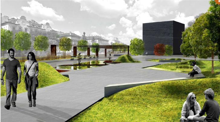 Promenád. A kocka a háttérben egy, tervekkel még nem létező múzeumi épületet jelez