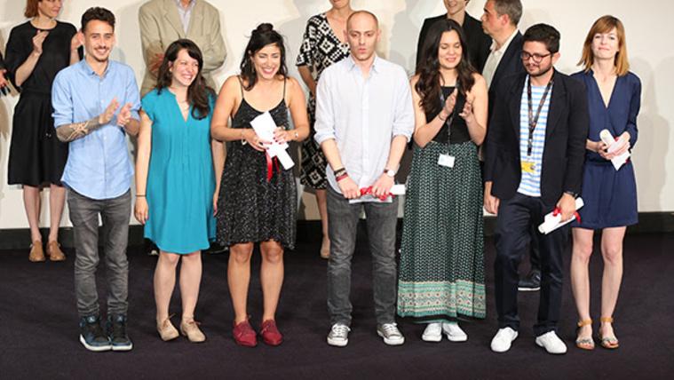 A nyertesek, jobb szélen kék ruhában Andrasev Nadja