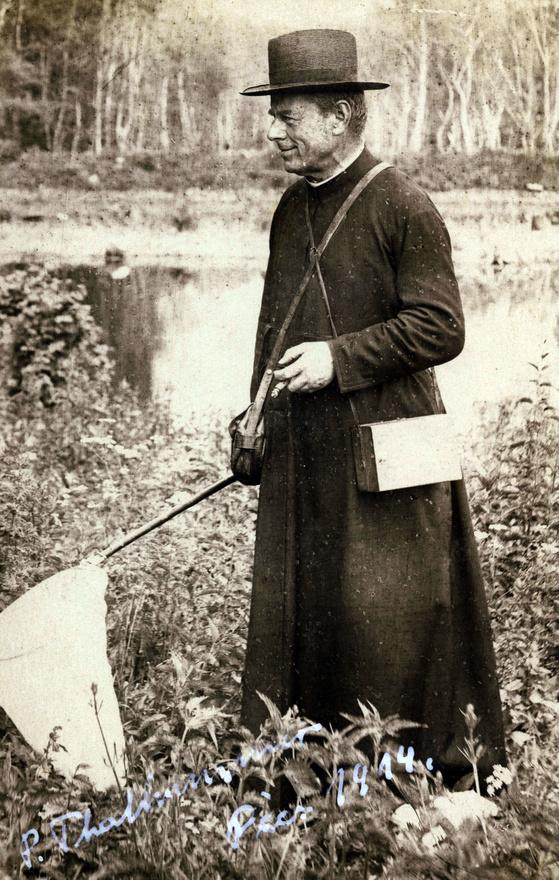 Szerzetes kalapban, lepkehálóval, az aláírás szerint a helyszín és időpont: Pécs, 1914. Thalhammer János igazi tudós-tanár volt, európai hírű zoológus, aki kalocsai tanári évei alatt kezdett foglalkozni kétszárnyú rovarok gyűjtésével. 30 évig a kalocsai, majd haláláig a pécsi jezsuita gimnáziumban tanított természettudományos tárgyakat.