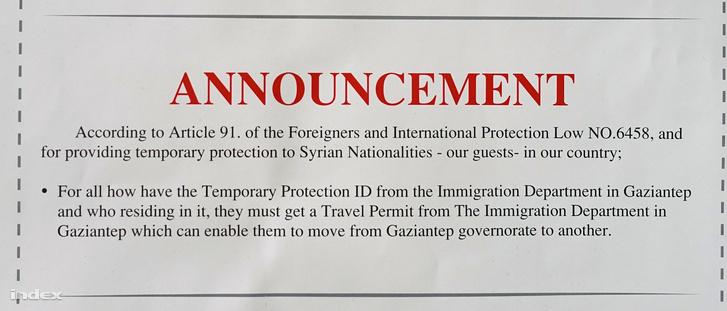 A szír menekülteknek szóló tájékoztatás, ami megtiltja a szabad utazást, és vendégekként, nem pedig menekültként hivatkozik a szírekre.A teljes dokumentumért kattintson!