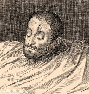 1599-ben készült rajz Báthory András levágott fejéről Mihály vajda megbízásából