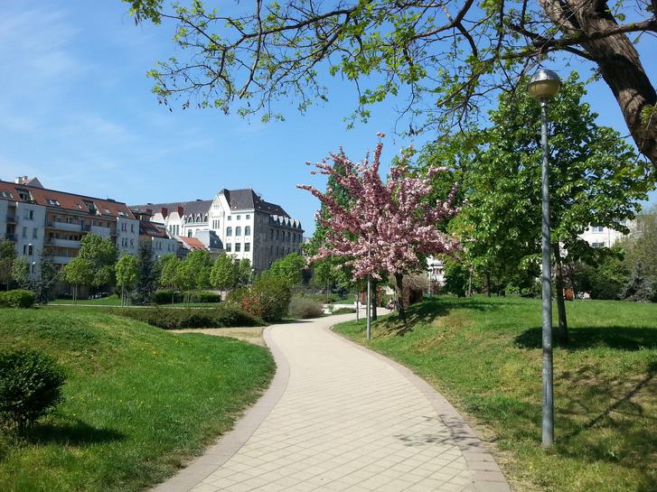 A lebontott háztömb helyén létrejött Kerekerdő park
