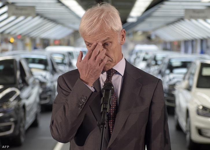 Matthias Mueller Volkswagen vezér tavaly ősszel a sajtó előtt