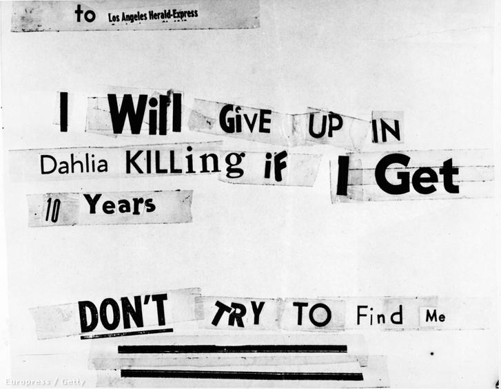 Az állítólagos gyilkos fenyegető levele amit a Los Angeles Herald-Expressnek küldött