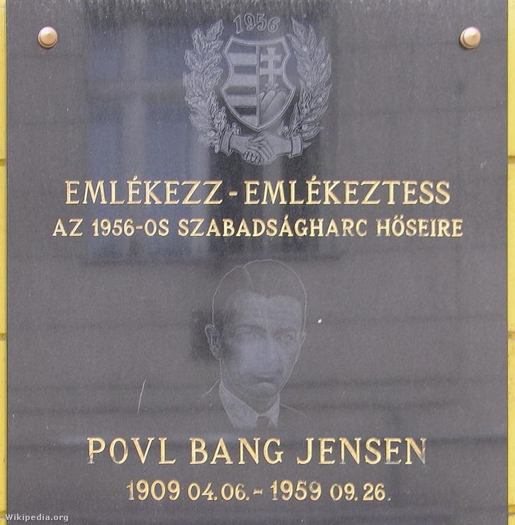 Povl Bang-Jensen emléktáblája Budapesten.