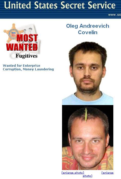 A Secret Service körözésén jól látszik, hogy Kovelin valójában sáskaember. A New York-i  ügyészség bezzeg kiretusálta az állatot.