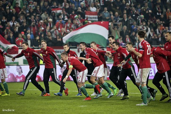 A magyar csapat ünneplése a Groupama Arénában, miután legyőzték a norvég válogatottat és kijutottak az Európa-bajnokságra.