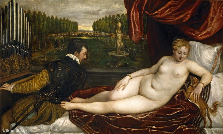 Tiziano: Vénusz és az orgonista. Plusz egy kutya