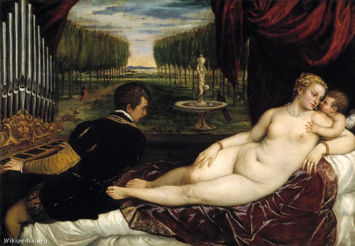 Tiziano: Vénusz és az orgonista. Plusz Cupido